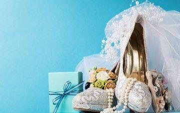 бусы, свадьба, туфли, украшение, фата, декор