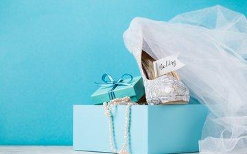 бусы, подарок, свадьба, туфли, коробка, голубая, короб