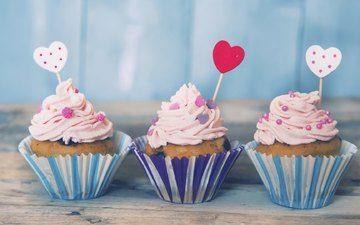 сердечки, десерт, кексы
