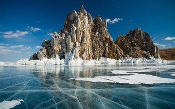 озеро, скалы, зима, пейзаж, лёд, россия, байкал, efim chernov