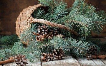 новый год, елка, хвоя, ветки, корица, корзина, рождество, шишки