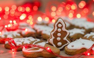 новый год, рождество, гирлянда, печенье, выпечка