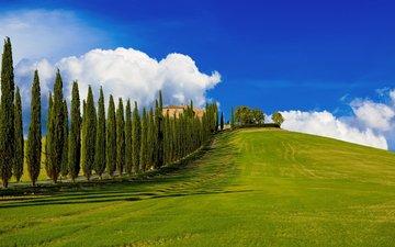 холмы, пейзаж, италия, ферма, тоскана, кипарисы