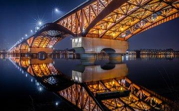 lights, reflection, bridge, the city, seoul, south korea