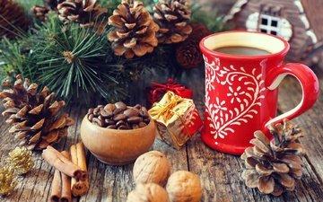 новый год, елка, орехи, ветки, корица, кофе, кружка, праздник, рождество, шишки, специи