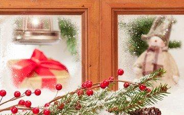 новый год, елка, окно, подарок, рождество
