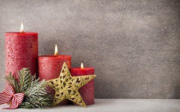 свечи, новый год, звезда, рождество