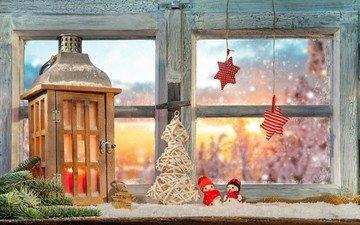 новый год, фонарь, окно, рождество, декор