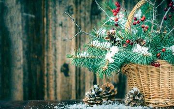 новый год, елка, ветки, корзина, рождество, шишки