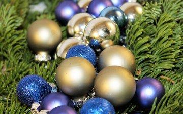 новый год, елка, шары, хвоя, игрушки, рождество, елочные игрушки