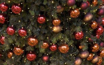 новый год, елка, шары, рождество, елочные игрушки, гирлянда