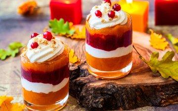 листья, сладкое, десерт, крем
