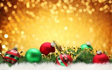 новый год, шары, хвоя, праздник, елочные игрушки