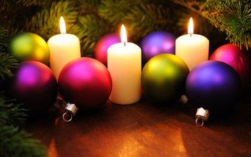 свечи, новый год, шары, рождество, елочные игрушки