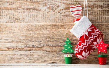 новый год, рождество, ёлочка, носок, звездочка, деревянная поверхность