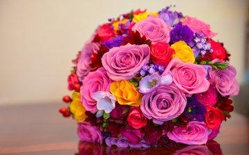 blumen, rosen, blumenstrauß, komposition, brautstrauß