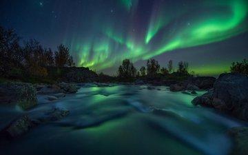 ночь, природа, зима, пейзаж, северное сияние, арктика