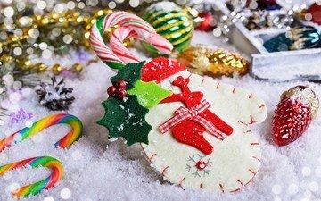 новый год, рождество, елочные украшения, печенье, леденцы