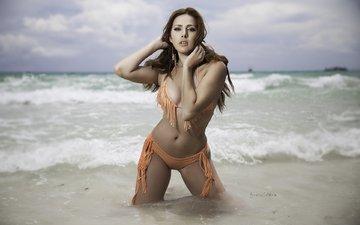 shore, girl, sea, sand, beach, wave, model, the ocean, bikini, photoshoot, brown hair