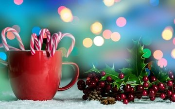 new year, leaves, winter, candy, mug, berries, christmas, lollipops