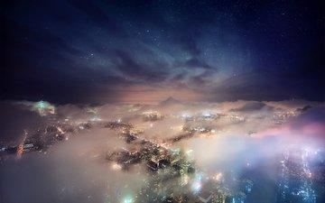 night, stars, fog, the city, usa, new york