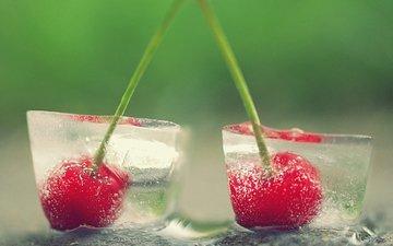 лёд, черешня, ягоды, вишня