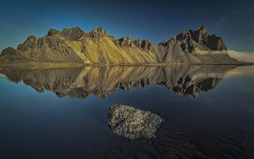 lake, mountains, reflection, landscape, iceland, etienne ruff