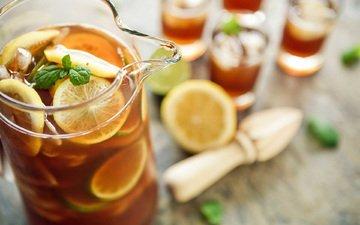 мята, напиток, лимон, стаканы, кувшин, цитрусы, холодный чай, лимонад