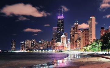 ночь, огни, город, сша, чикаго, songquan deng