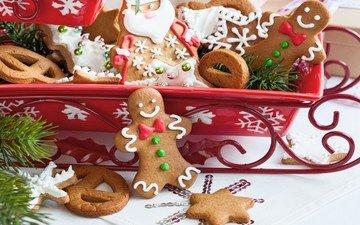 новый год, украшения, хвоя, рождество, сладкое, санки, печенье, выпечка, глазурь