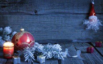 новый год, шар, свеча, рождество, елочные игрушки
