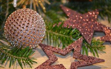 новый год, елка, звезды, шар, рождество, елочные украшения