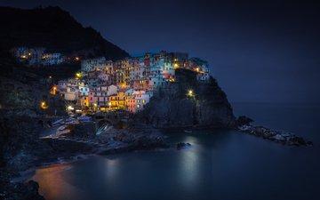 ночь, огни, море, скала, город, италия, манарола