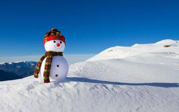 снег, зима, снеговик