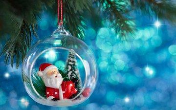новый год, елка, дед мороз, шар, рождество, елочная игрушка