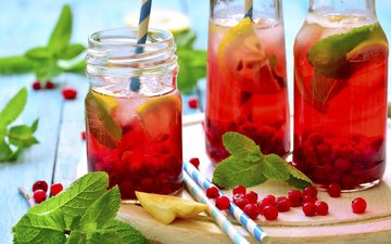 мята, напиток, лимон, ягоды, смородина, сок, лимонад