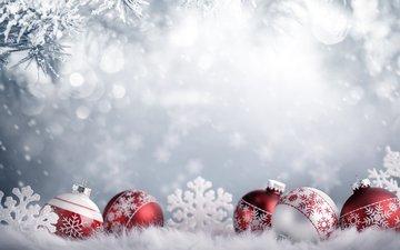 новый год, шары, снежинки, рождество, елочные игрушки, декор