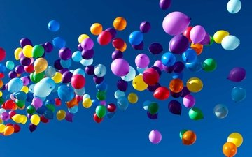 the sky, balls, colorful, balloons