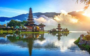 lake, temple, landscape, indonesia, bali