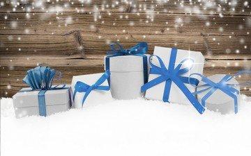 снег, новый год, подарки, рождество, деревянная поверхность