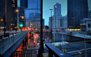 дорога, ночь, огни, вечер, город, небоскребы, мегаполис, сша, здания, сумерки, чикаго