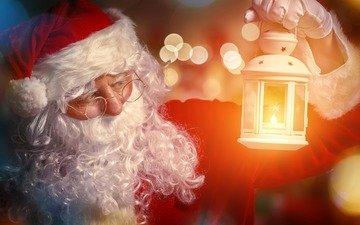 новый год, очки, дед мороз, фонарь, шапка, рождество, санта клаус, шуба, борода