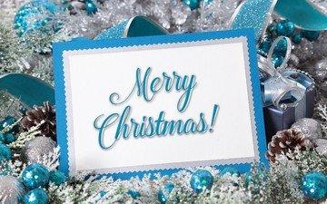 снег, шары, украшения, подарок, рождество, шишки, елочные игрушки, счастливого рождества