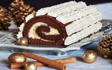 новый год, рождество, шишки, шоколад, сладкое, десерт, рулет
