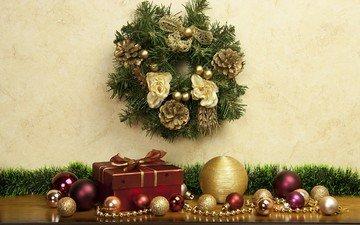 новый год, шары, украшения, хвоя, подарки, рождество, шишки, венок, декор