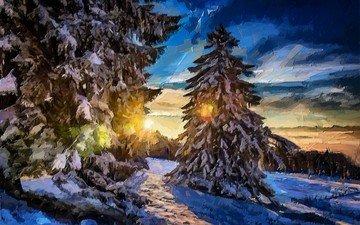 арт, природа, лес, зима, пейзаж, живопись