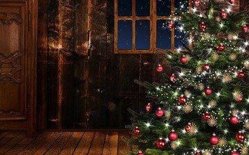 новый год, елка, шары, окно, рождество, елочные игрушки