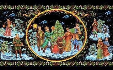 рисунок, деревья, новый год, елка, медведь, девушки, парни, рождество, миниатюра, палех