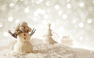 снег, новый год, зима, снеговик, рождество