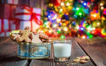 новый год, елка, рождество, молоко, печенье, выпечка